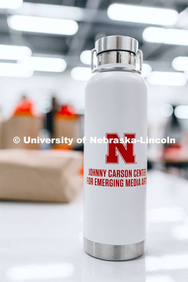 A water bottle with the Carson Center logo on it in the new Johnny Carson Center for Emerging Media Arts. August 26, 2019. Photo by Justin Mohling / University Communication.