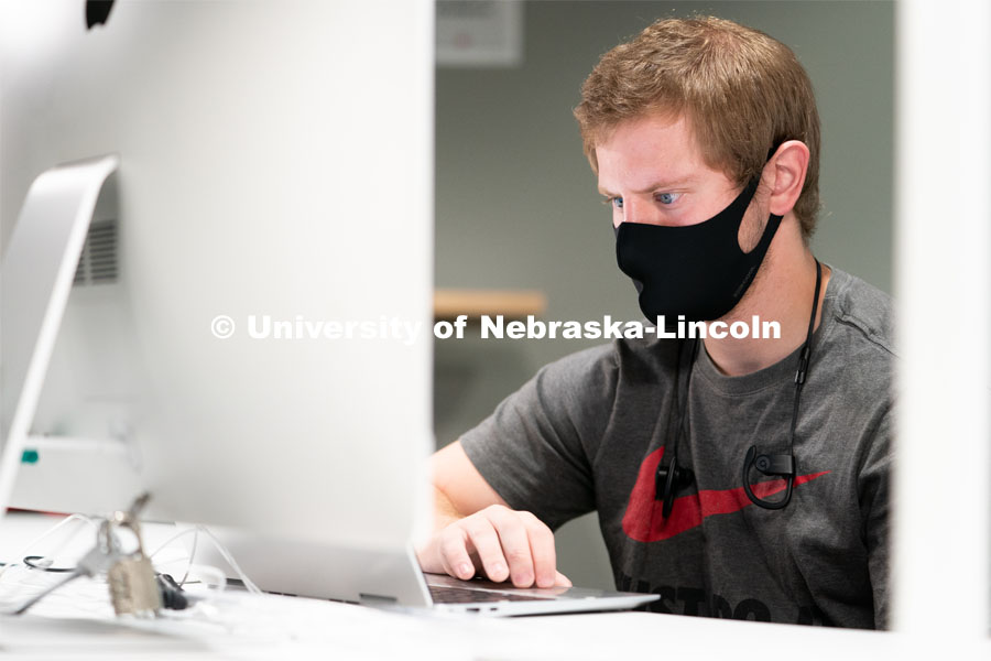 Senior Sports Media and Communication major Brandon Warnke works on homework inside of Andersen Hall during the first day of in-person instruction at the University of Nebraska-Lincoln on Monday, August 24, 2020. Photo by Jordan Opp for University Communication.