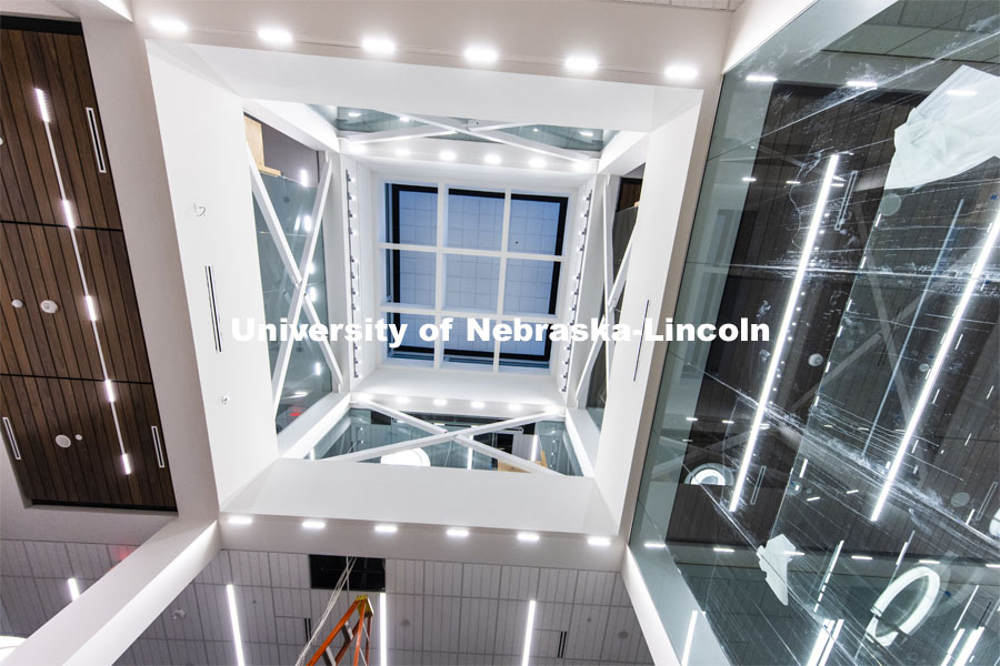 Looking up through the atrium of the library. Tour of remodeled C.Y. Thompson Library on East Campus. November 23, 2020. Photo by Craig Chandler / University Communication.