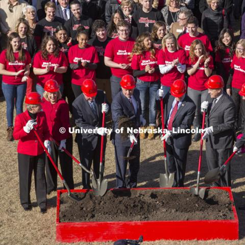 University of Nebraska-Lincoln College of Business Administration's groundbreaking for a new building was Wednesday afternoon on the city campus site. The crowd gathered as dignitaries threw the first shovel of dirt. March 5, 2015. Photo by Greg Nathan / University Communications