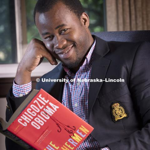 Chigozie Obioma, a Nigerian writer and member of the University of Nebraska-Lincoln creative writing faculty, is one of six authors vying for one of the most prestigious writing awards in the world. September 11, 2015, Photo by Craig Chandler, University Communications.