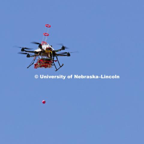 Controlled burn at the Homestead National Monument in Beatrice, NE. Sebastian Elbaum and Carrick Detweiler have engineered a drone able to light controlled prairie burns using balls dropped from the sky. The drone injects a liquid into the plastic spheres