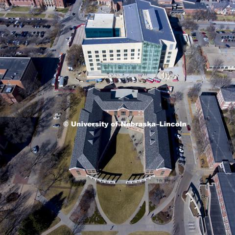 Aerial of Kauffman Residence Hall home of the Raikes School. The new College of Business building is seen in the background. February 22, 2017. Photo by Craig Chandler / University Communication.