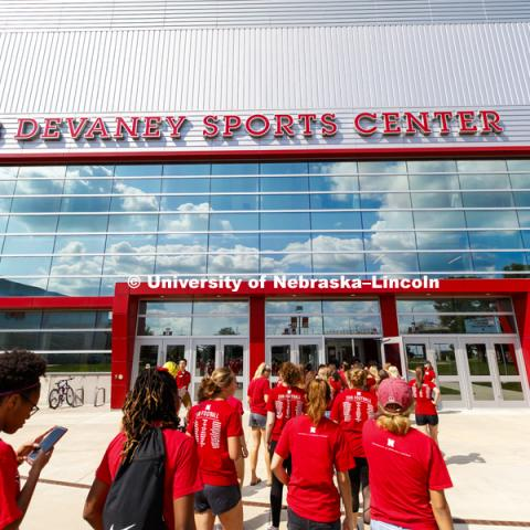 New student convocation at Bob Devaney Sports Center. August 17, 2018. Photo by Craig Chandler / University Communication.