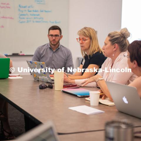 (L to R) Brenda Wandzilak, Grant Scribner (UNL grad student), Peggy Dynek, Julie Tegeler, Kathy Thagard brainstorm about ways to incorporate History Harvest into the classroom. June 5, 2019. Photo by Gregory Nathan / University Communication.