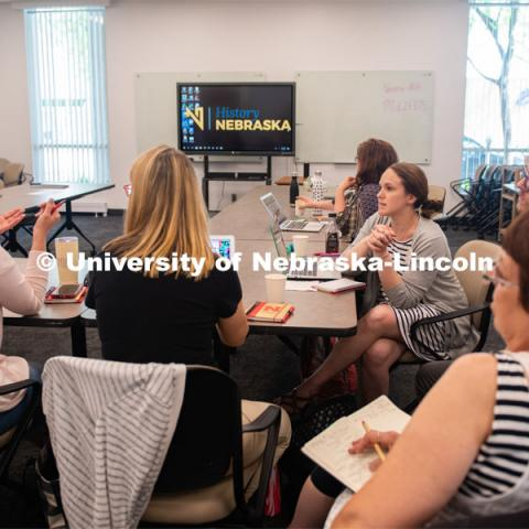 (L to R) Julie Tegeler, Peggy Dnyek, Kathy Thagard, Grant Scribner (UNL grad student), Brenda Wandzilak, Stacey Haney brainstorm about ways to incorporate History Harvest into the classroom. June 5, 2019. Photo by Gregory Nathan / University Communication.