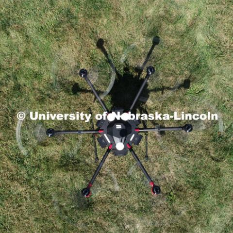 Carrick Detweiler and crew flies the Drone Amplified Ignis drone system which drops ball that ignite to create back burns to fight wildfires. September 6, 2019. Photo by Craig Chandler / University Communication.