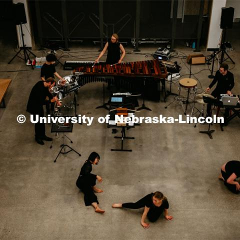 First Friday performances in the Johnny Carson Center for Emerging Media Arts, dance featuring the University of Nebraska Percussion Ensemble. November 1, 2019. Photo by Justin Mohling for University Communication.