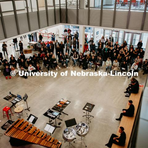 First Friday performances in the Johnny Carson Center for Emerging Media Arts, featuring the University of Nebraska Percussion Ensemble. November 1, 2019. Photo by Justin Mohling for University Communication.