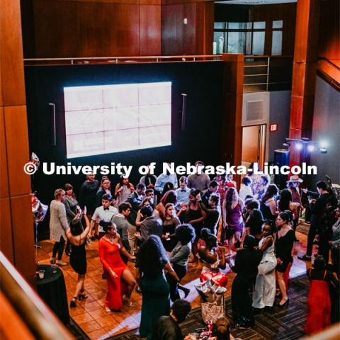 Huskers dance in formal attire during the 2020 OASIS Love Gala in the Wick Alumni Center. It is the final event in observance of Black History. February 28, 2020. Photo by Justin Mohling / University Communication.