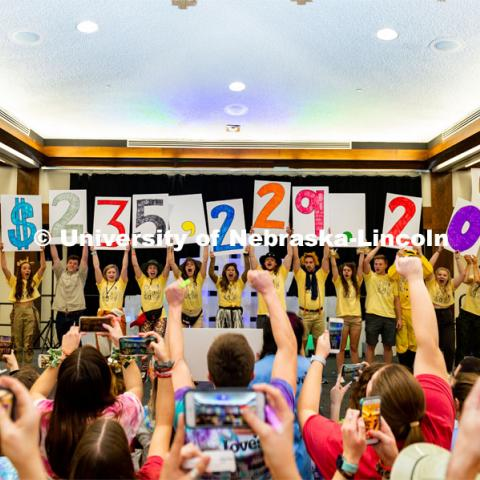 "Students reveal the total raised during the 2020 HuskerThon. University of Nebraska–Lincoln students exceeded their goal, raising $235,229 during the annual HuskerThon on Feb. 29. Also known as Dance Marathon, the event is part of a nationwide fundraiser supporting Children's Miracle Network Hospitals. The annual event, which launched in 2006, is the largest student philanthropic event on campus. The mission of the event encourages participants to, ""dance for those who can't."" All funds collected by the Huskers benefit the Children's Hospital and Medical Center in Omaha. February 29, 2020. Photo by Justin Mohling / University Communication."
