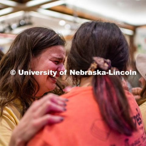 "Students got emotional after finding out the final number raised for the children. University of Nebraska–Lincoln students exceeded their goal, raising $235,229 during the annual HuskerThon on Feb. 29. Also known as Dance Marathon, the event is part of a nationwide fundraiser supporting Children's Miracle Network Hospitals. The annual event, which launched in 2006, is the largest student philanthropic event on campus. The mission of the event encourages participants to, ""dance for those who can't."" All funds collected by the Huskers benefit the Children's Hospital and Medical Center in Omaha. February 29, 2020. Photo by Justin Mohling / University Communication."