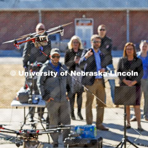 A tethered drone is demonstrated for Senator Deb Fischer Friday afternoon. The drone is tethered so it can remain aloft for long periods of time and transfer large amounts of data to the base station. March 6, 2020. Photo by Craig Chandler / University Communication.