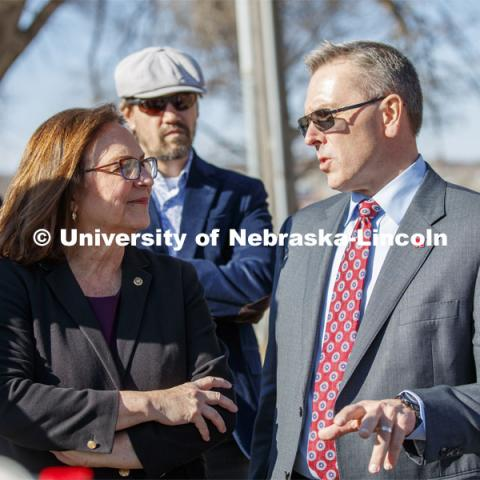 UNL Chancellor Ronnie Green describes the growth in the College of Engineering College to Senator Deb Fischer during her tour Friday. March 6, 2020. Photo by Craig Chandler / University Communication.