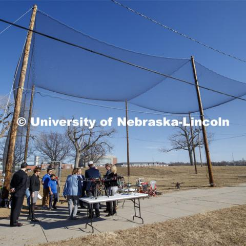 Senator Deb Fischer is given a demonstration of drone technology at the NIMBUS Outdoor Flying Facility on Nebraska Innovation Campus. March 6, 2020. Photo by Craig Chandler / University Communication.