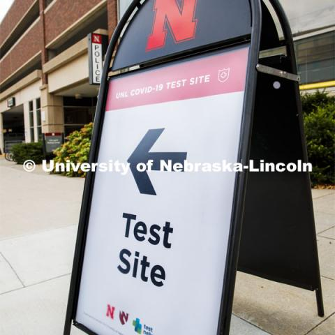 Photo shoot of UNL On-Campus COVID Testing Site. Testing is available at the University Health Center and at a testing site behind the University of Nebraska–Lincoln Police Station, in the 17th and R parking garage. August 6, 2020. Photo by Craig Chandler / University Communication.