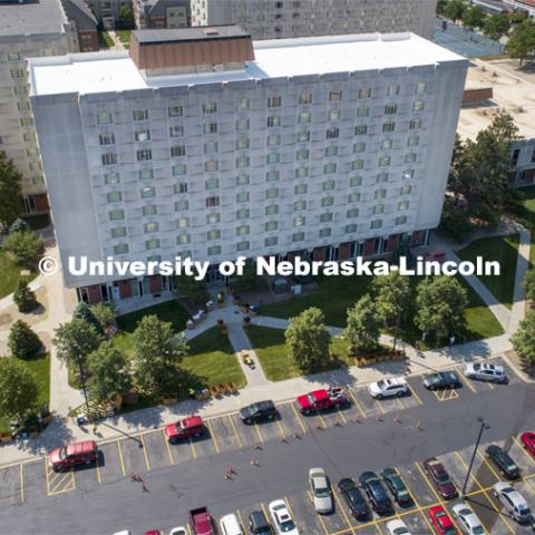 Aerial view of Harper Hall. First day of residence hall move in. August 13, 2020. Photo by Craig Chandler / University Communication.