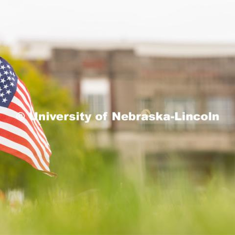 An American flag placed in the Donald and Lorena Meier Commons on Thursday, September 10, 2020 in Lincoln, Nebraska. The flag is a part of a 9/11 memorial put together by the Association of Students of the University of Nebraska. 9/11 memorials. Photo by Jordan Opp for University Communication.