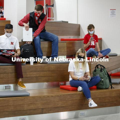 Students inside the remodeled Nebraska East Union. East Campus photo shoot. October 13, 2020. Photo by Craig Chandler / University Communication.