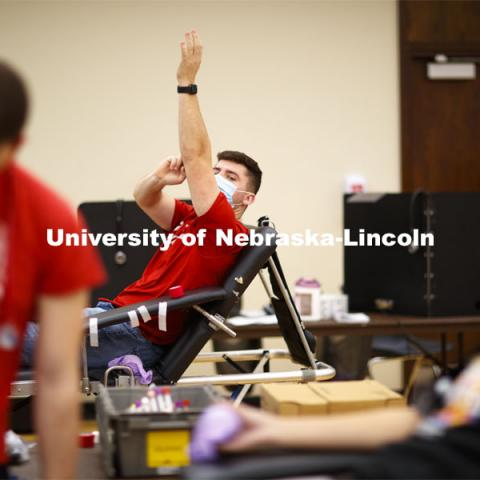 Students donate in the Homecoming Blood Drive in the Nebraska Union ballroom on city campus. October 27, 2020. Photo by Craig Chandler / University Communication.
