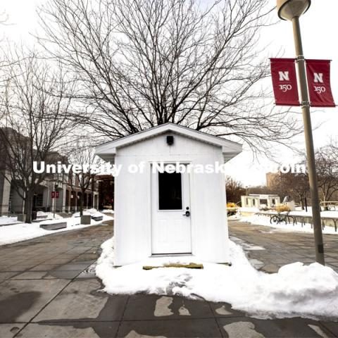 Testing pod by Nebraska Union. Pods are springing up on campus for the new saliva-based COVID tests all students, faculty and staff on campus will do this semester. January 5, 2021. Photo by Craig Chandler / University Communication.