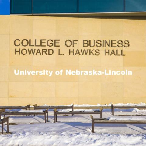 College of Business' Howard Hawks Hall. February 1, 2021. Photo by Craig Chandler / University Communication.