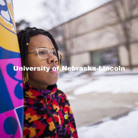Nebraska's Da'Von George, a graphic design major in the Hixson-Lied College of Fine and Performing Arts, is walking a path toward becoming a role model for others. February 10, 2021. Photo by Craig Chandler / University Communication.