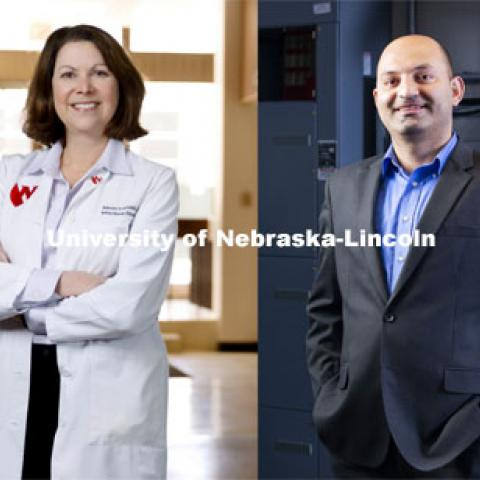 A team of researchers from three University of Nebraska institutions is among the finalists in a global competition to develop an artificial intelligence-driven model to advise policymakers on how it is best to handle the COVID-19 pandemic.  From left: Dan Piatkowski, assistant professor of community and regional planning at UNL, Alison Freifeld, professor of internal medicine at University of Nebraska Medical Center and an infectious diseases expert, Fadi Alsaleem, assistant professor of architectural engineering at the University of Nebraska-Lincoln and an expert in Big Data analysis and Basheer Qolomany, assistant professor of computer science at University of Nebraska-Kearney and an expert in cyber systems; Photos by Craig Chandler/UNL, Kent Sievers/UNMC, Ryan Soderlin/UNO, and Erika Pritchard/UNK. Photos taken February 2021,