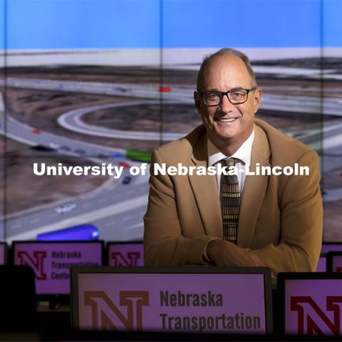 Laurence Rilett, professor of civil and environmental engineering, Keith W. Klaasmeyer Chair in Engineering and Technology, and director of the Nebraska Transportation Center and Mid-America Transportation Center, has been awarded an Innovation, Development and Engagement Award (IDEA) from the University of Nebraska. March 31, 2021. Photo by Craig Chandler / University Communication.