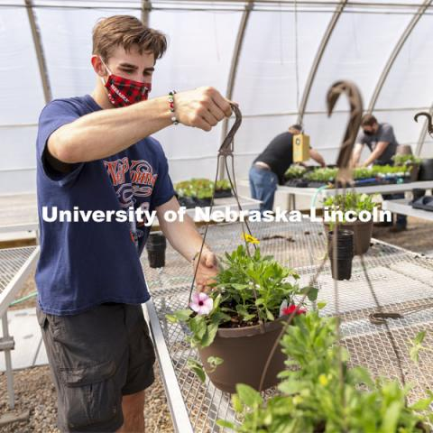 Tom Henry moves a finished hanging basket onto the rack so they can be watered during a club work session. Members of the horticulture club prepare plants in the greenhouses on east campus. The plants will be sold at their annual spring sale. April 1, 2021. Photo by Craig Chandler / University Communication.