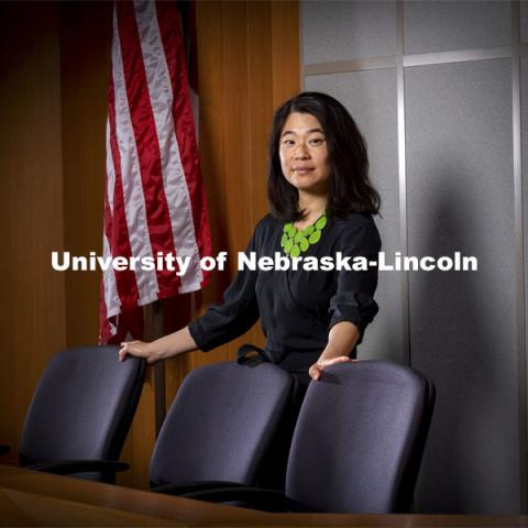 Alice Kang, associate professor of political science and ethnic studies, has been tracking when and how women broke the glass ceiling to be appointed to the highest courts in democratic countries. April 13, 2021. Photo by Craig Chandler / University Communication.