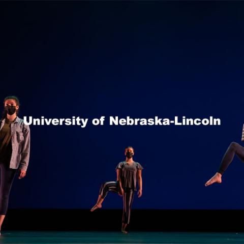 "University of Nebraska-Lincoln dance students perform a dance routine during a dress rehearsal of ""An Evening of Dance"". April 27, 2021. Photo by Jordan Opp for University Communication."
