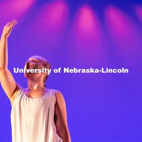 "A University of Nebraska-Lincoln dance student performs a dance routine during a dress rehearsal of ""An Evening of Dance"". April 27, 2021. Photo by Jordan Opp for University Communication."