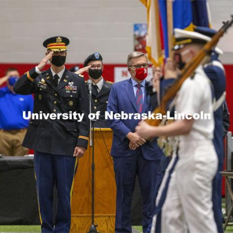 Chancellor Ronnie Green presided over the ROTC Joint Service Chancellor's Review Thursday afternoon in Cook Pavilion. April 29, 2021. Photo by Craig Chandler / University Communication.